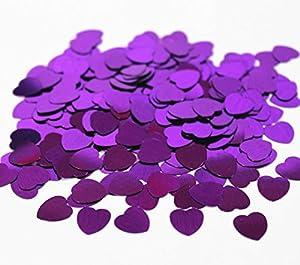 SHATCHI - Confeti de 14 g con forma de corazón, color morado