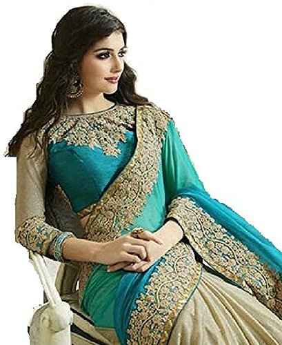 new collection sarees 2018 (Roop Craft Lycra Saree With Blouse Piece Turquoise...