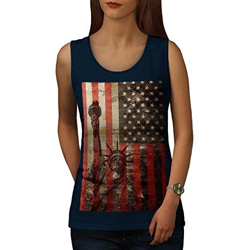 Neu York Flagge Freiheit USA Tourismus Flagge Damen S2XL Muskelshirt  Wellcoda Marine