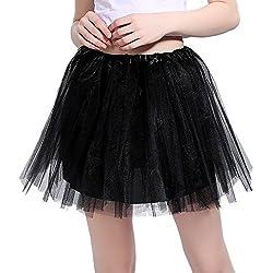 InnoBase Tutu Falda de Mujer Falda de Tul 50's Short Ballet 3 Capas Accesorios de Vestimenta de Baile para Mujeres Niñas 8 Colores (Negro)