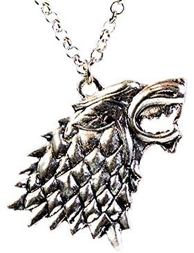 Game of Thrones House of Stark Direwolf Kopf Halskette Dark Horse Sigil