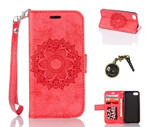 für Smartphone Apple iPhone 7 (4.7 Zoll) Hülle, Klappetui Flip Cover Tasche Leder [Kartenfächer] Schutzhülle Lederbrieftasche Executive Design +Staubstecker (5SS)