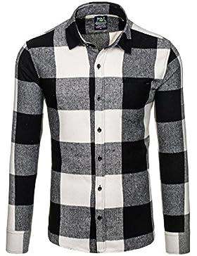 BOLF – Camicia in flanella – Maniche lunghe – Uomo – Slim Fit – Camicia a bottoni - Motivo 2B2