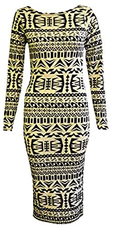 WOMENS LADIES BLACK AND WHITE TRIBAL AZTEC LONG SLEEVED MIDI DRESS (8/10)