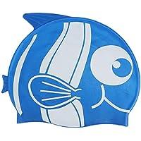 Shuzhen,Gorro de natación de Silicona con patrón de tiburón para Peces(Color:Azul)