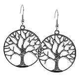 Geralin Gioielli Damen Ohrringe Silber Lebensbaum Ohrhänger Unisex Vintage Baum des Lebens