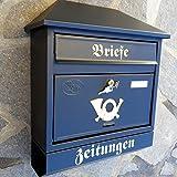 Großer Briefkasten / Postkasten XXL Schwarz Matt mit Zeitungsrolle Zeitungsfach Schrägdach Trapezdach