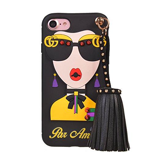 COOLKE Mode Mädchen weiche TPU Silikon Schutz Handyhülle Shell Schutzhülle Hülle case cover für Apple iPhone 7 (4.7 inches) - schwarz-2 schwarz-3