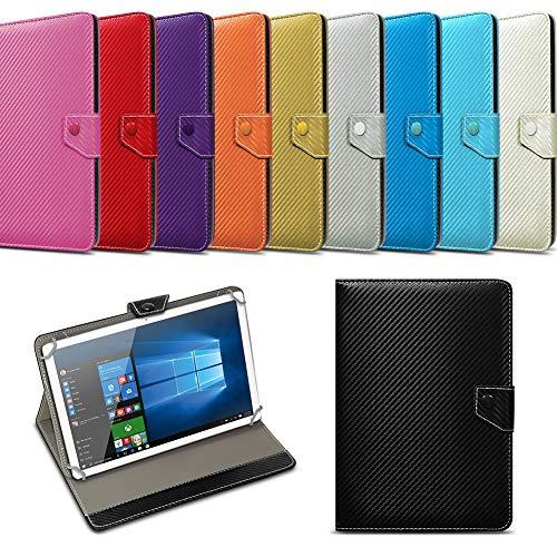 NAUC Universal Tablet Tasche mit Standfunktion Hülle für Blaupunkt Endeavour 101M 101G 101L Tablet Schutztasche in Edler Carbon-Optik Schutzhülle Cover Case, Farben:Gelb