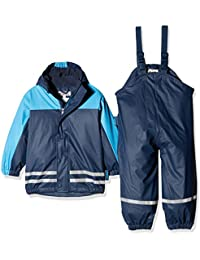Playshoes Baby-Jungen Regenjacke Kinder Wasserdichter Matschanzug, Regenanzug mit Fleece-Futter, Reflektoren, Abnehmbare Kapuze