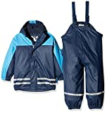 Playshoes Regenanzug-Set mit Fleece gefüttert, Jungen Matsch-Anzug 2-teilig, wind- und wasserdicht, Blau (Marine 11), 80