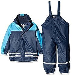Playshoes Regenanzug-Set mit Fleece gefüttert, Jungen Matsch-Anzug 2-teilig, wind- und wasserdicht, Blau (Marine 11), 128