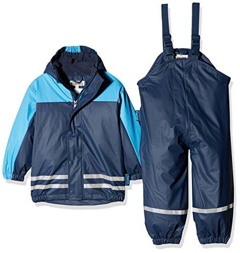 Playshoes Regenanzug-Set mit Fleece gefüttert, Jungen Matsch-Anzug 2-teilig, wind- und wasserdicht, Blau (Marine 11), 128 -