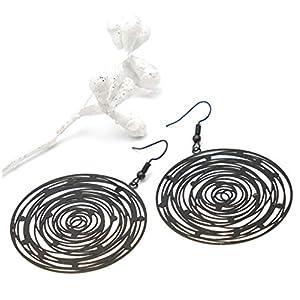 Ohrringe BLACK SPIRAL Spirale rund schwarz groß 6,5 cm Damen