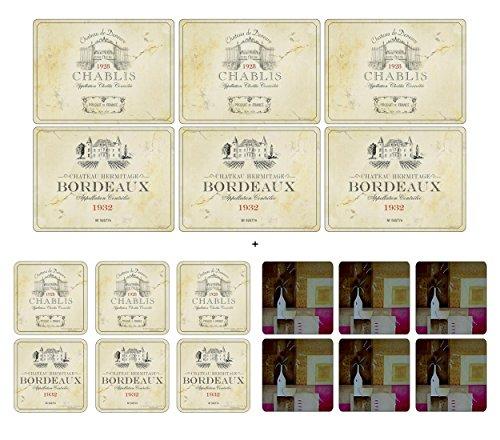 pimpernel-vin-de-france-6-sets-de-table-6-dessous-de-verre-6-bonus-gratuit-de-plymouth