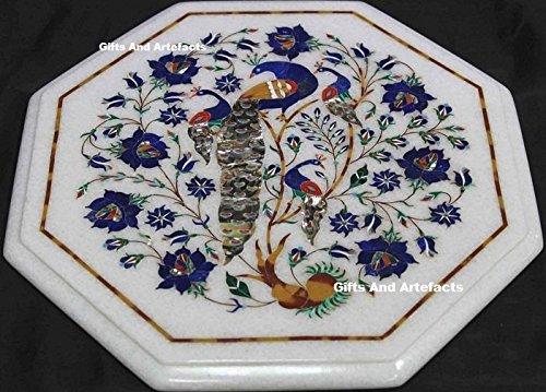 35,6cm Octagon weiß Marmor Pfau Design Inlay Lapis Lazuli Stein Sofa Tisch Top (Inlay Tisch Sofa Top)