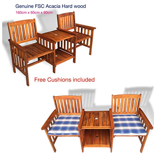 Hercules Gazebo 2 Seater Wooden acacia hardwood Love Seat Chair Garden Furniture Wood Patio Outdoor With Table.