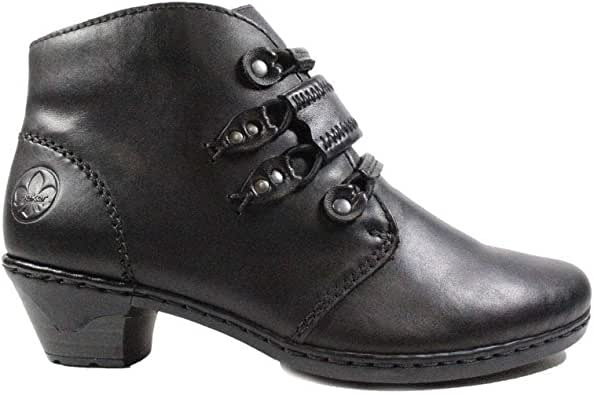 Rieker Lynn 76984 00 Black Leather Womens Heeled Ankle Boots