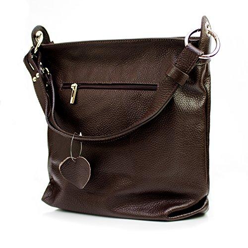 Ital Echt Leder Damentasche Handtasche Shopper Schultertasche (cognac braun) dunkelbraun