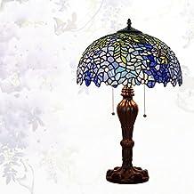 Lámpara de Tiffany estilo/Continental de lámpara de mesa creativos vintage/Lámpara de noche dormitorio Living comedor/ Lámpara de vidrio decorativo de Wisteria-D