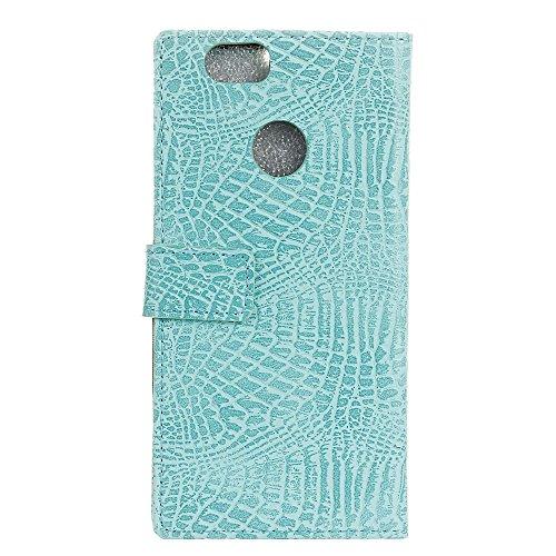 JDON Handys Case Hülle, für Huawei Genießen Sie 7 (P9 Lite Mini), Krokodil Haut Textur Muster Faux Leder Folio Stand Case Soft Silikon Abdeckung mit Kartensteckplätzen ( Color : Green ) (Schwarz Faux Krokodil-haut)
