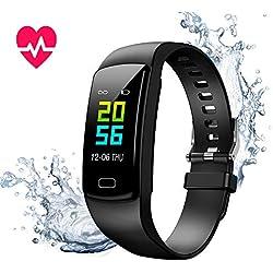 Montre Connectée Cardiofréquencemètre Bracelet Connecté Podomètre GPS Fitness Tracker d'Activité Tension Artérielle Smartwatch Sport Femme Homme Étanche IP67 Montre Cardio pour Android iOS