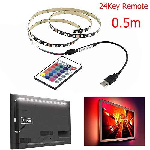 5V 5050 30Leds RGB LED Streifen Lichtleiste TV BackLights Kit 24Key Control 0.5M