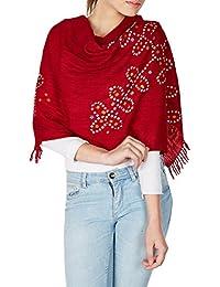 main rouge en laine tie-dye india volé accessoires pour femmes écharpe 24x70 pouces