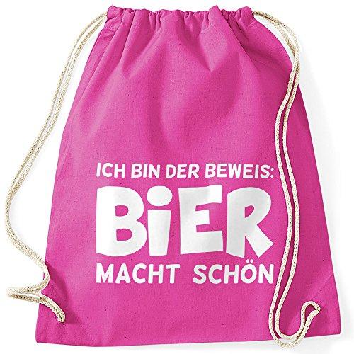 MoonWorks Ich Bin der Beweis Bier Macht Schön - Festival Turnbeutel Fuchsia Unisize - Bier Bin
