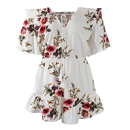 NiSeng Womens Jumpsuits Off Shoulder Floral Jumpsuit Strapless Short Pants Rompers Playsuits White S