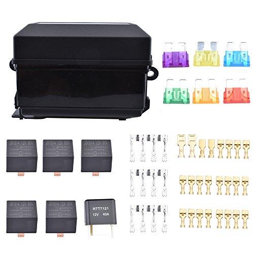 meaor (6-fach Sicherungshalter, Box-Set, 6-fach, Sicherungshalter mit Flachstecker,-Sicherung, Pin 12V 80A-Relais, 12V, 40A, für Auto, LKW, Boot