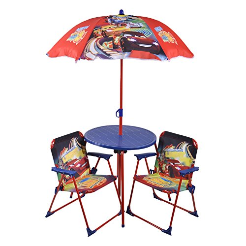 Autos Patio Set Kindergartentisch Gartenstühle UV Regenschirm Disney Pixar
