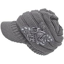 Crochet Invierno Beanie Gorro de Punto Caliente Cozy Mujeres Grande Sombrero  Floral Visor Moda Diseño de 1f1c449b939
