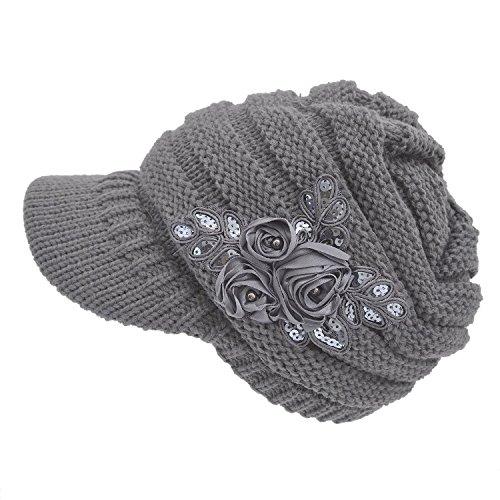 Kuyou Strickmütze mit Schild Winter Strickmütze Beanie Cap (Grau)