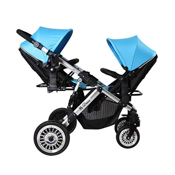 ZhiGe Pushchair Twin Stroller Two-Way Lightweight Suspension Baby car Reclining high View Foldable Baby Stroller 68 * 105 * 134cm ZhiGe Light city stroller Ideal for a daily life with bus or train Compact folding size 1