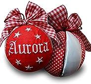 Crociedelizie, pallina di Natale personalizzata 8 cm nome ricamato decorazione natalizia personalizzabile ross