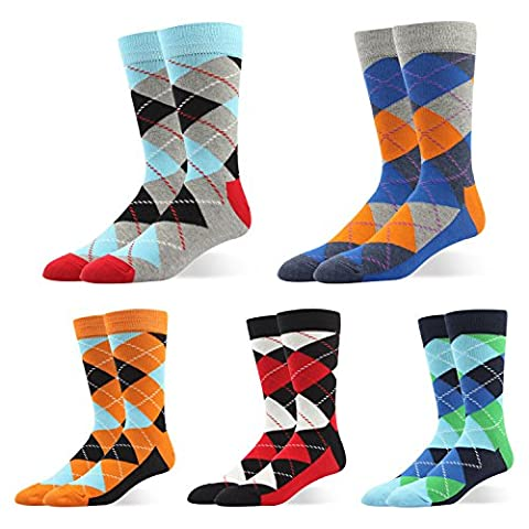 RioRiva Herren Business Socken Berufssocken Arbeitssocken Anzugsocken Für Männer Kniestrümpfe (EU Size 44.5-49/ UK 10-13.5, BSK26-Argyle 5paar)