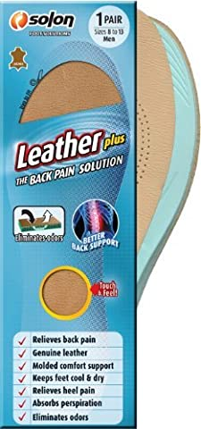 Solon Foot Solutions Leather Plus The Back Pain Solution,1 Pair Sizes 8 to 13 Men by Solon Foot Solutions
