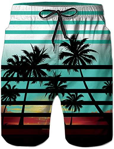 Loveternal Costumi Mare Uomo Pantaloncino Hawaii Bicchierini da Spiaggia Quick Dry Cool Graphic Coconut Tree Pantaloncini da Bagno Surf Trunks XXL