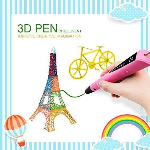 Lápiz 3D, Bolígrafo 3D para Dibujar en Relive, Compatible con PLA & ABS Filamento, Perfecto para Niños y Adultos, 2x 1.75mm PLA Filamentos(5m) o 1x 1.75mm PLA Filamento(10m) Incluido, Rosa