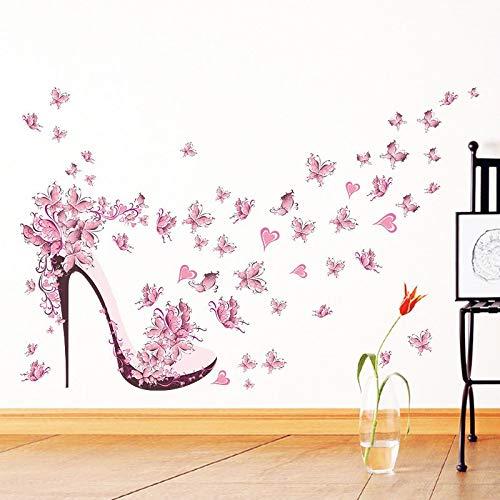 XCGZ Wandsticker High Heel Schuhe Fliegen Schmetterlinge Herz Blume Wandaufkleber PVC Decals Home Decor Mädchen Room Decor Poster (Decor Room Mädchen)
