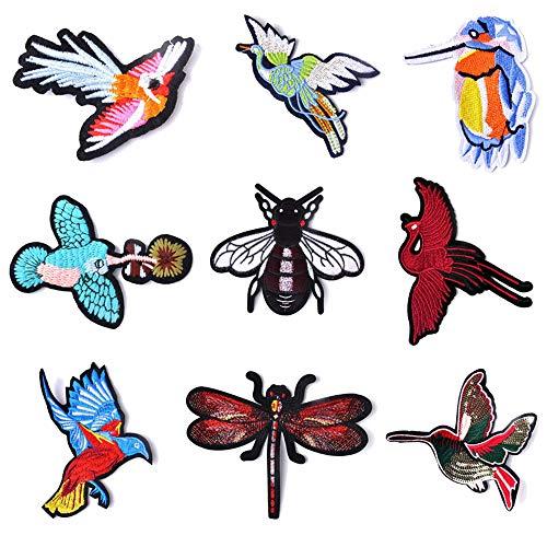 Mingjun Aufnäher/Aufbügeln bestickte Patches Stickerei Vogel für Kleidung Jacken Rucksäcke T-Shirt Jeans Applikation DIY Kleidung