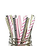 Paper Straws- Pink, Black White, Disposa...