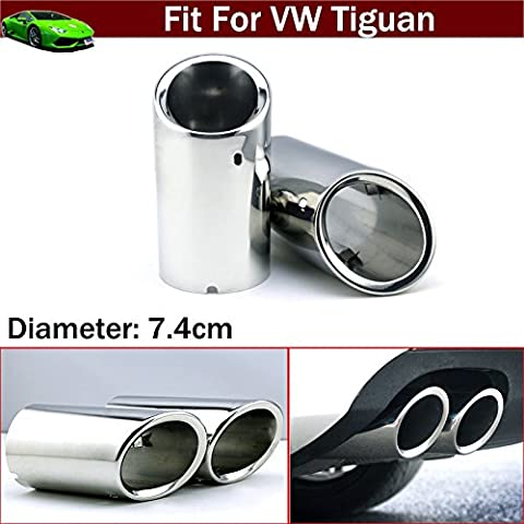 New 2pcs Chrome Stainless Steel Car Tailpipe Exhaust Muffler Tail Pipe Tip Extension Pipes End Pipes Silver Color Custom Fit