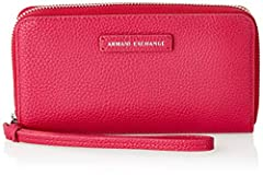 Idea Regalo - ARMANI EXCHANGE Zip-around Wristlet Wallet - Portafogli Donna, Rosa (Fucsia), 10x10x10 cm (W x H L)