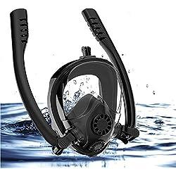 HUIYEA Masque de Plongée, Masque de Snorkeling Plein Visage 180° Visible, Double Tuba Anti-Buée Anti-Fuite Snorkel Masque avec la Support pour Caméra de Sport Adapté pour Adulte et Enfant (Noir-L/XL)