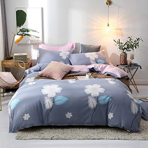 HIUGHJ steppen Solstice Heimtextilien Bettbezug Kopfkissenbezug Flachbettlaken Blau Rosa Blume Kind Teen Mädchen Bettwäsche Bettwäsche Set Königin Bettwäsche - Rosa Mädchen Teen Bettwäsche