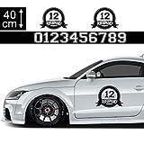 1A Style Sticker Startnummer Aufkleber Auto 40cm - Motiv 21, Performance Rennfahne, Rennflagge Seitenaufkleber Wunsch-Nummern