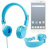 DURAGADGET Auriculares Color Azul Para Alcatel Pop OneTouch 2 (5) / (4.5) / (4) / PIXI 3 (4) / (3.5) - Acolchados Y Ajustables - Disponible En Color Rosa - Alta Calidad