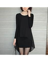 Versión coreana de primavera fue camisa gasa delgada además de suéter largo base suelta manga larga de ropa las mujeres de talla,M,Negro manga larga